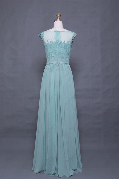 Pastel green bridesmaid dresses modest maid of honor dresses