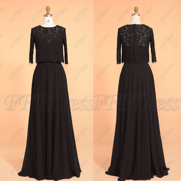 Black modest formal evening dresses with sleeves lace bolero
