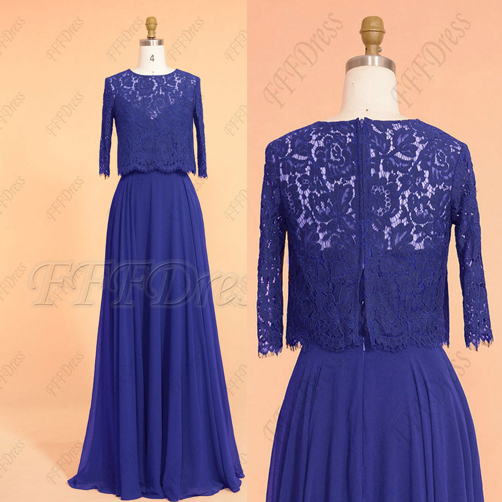 Jewel tone sapphire blue modest long bridesmaid dresses with bolero