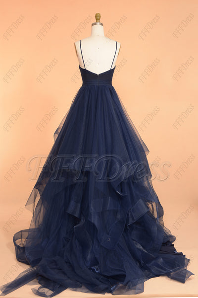Navy blue spaghetti straps V neck long prom dress with layered trim
