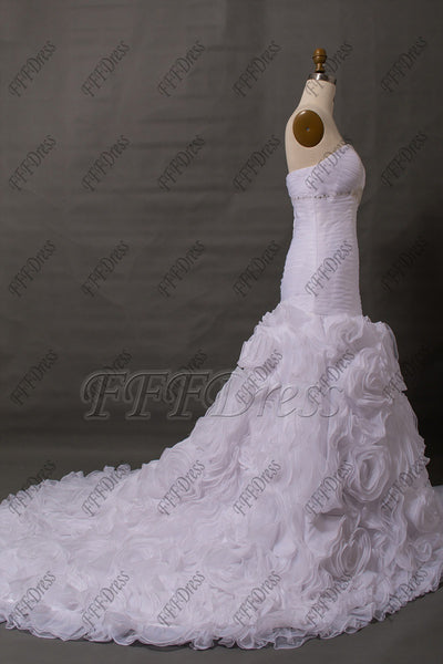 Mermaid white wedding dresses long