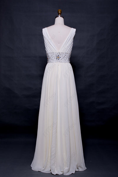 V Neck Crystals beaded white prom dresses long