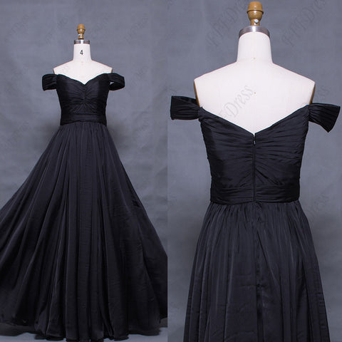 Vintage off the shoulder black prom dresses long