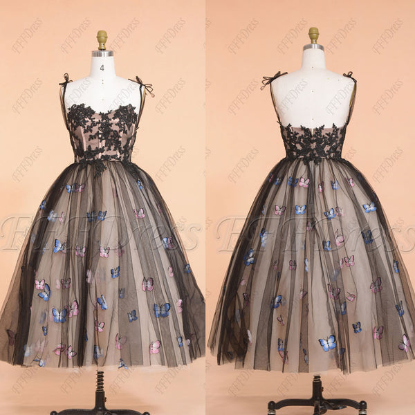 Ball gown black prom dresses with butterfly embroidery tea length