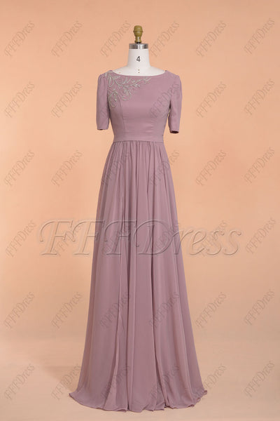 Dusty rose beaded modest slitted bridesmaid dress with sleeves