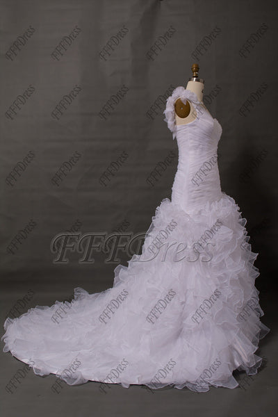 One shoulder white tiered wedding dress