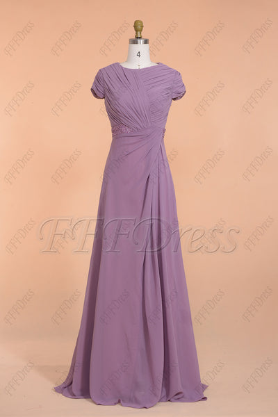 Modest Wisteria bridesmaid dresses with short sleeves
