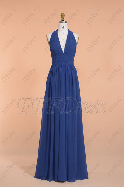 Navy Blue Halter Backless Prom Dresses Long