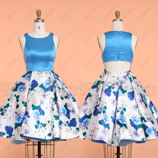 Floral cut out homecoming dress short prom dress