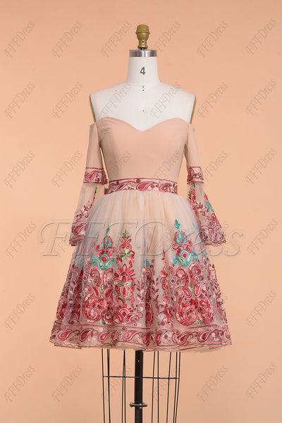 Floral Short Prom Dresses with Sleeves Homecoming Dresses
