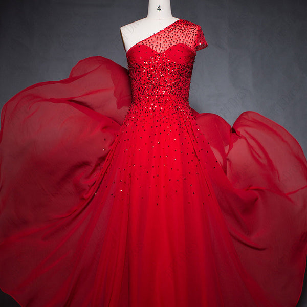 One shoulder red chiffon flowy prom dresses with hand beadings