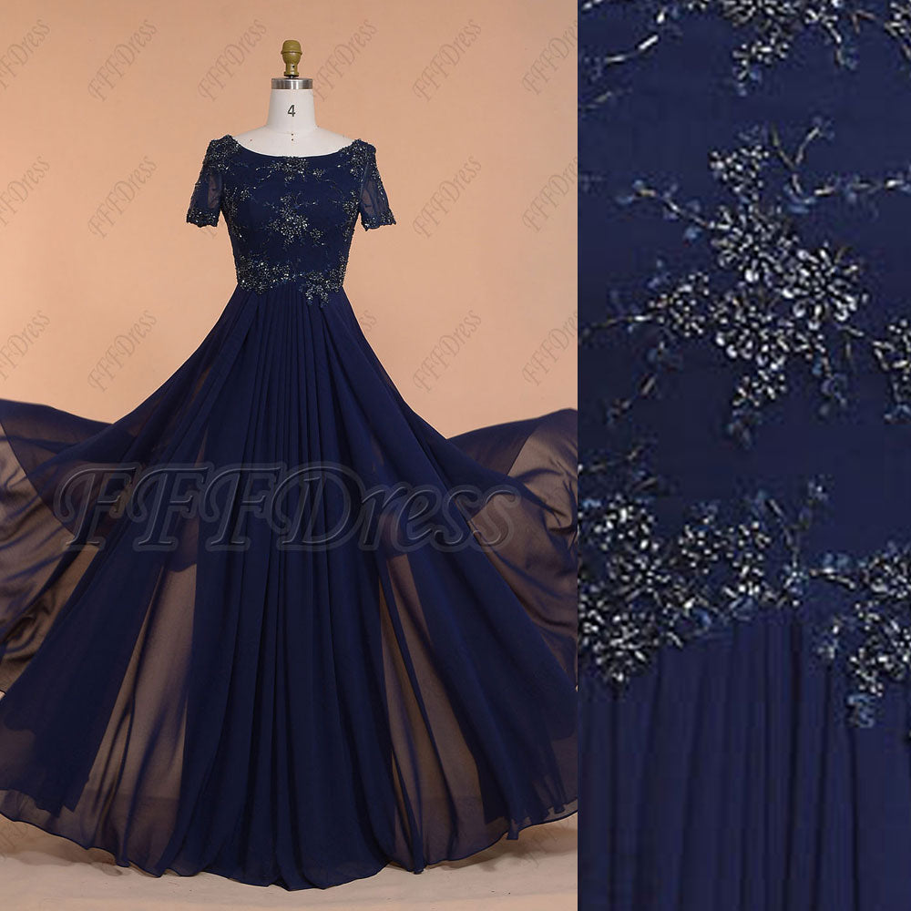 Navy blue modest beaded prom dresses long with sleeves