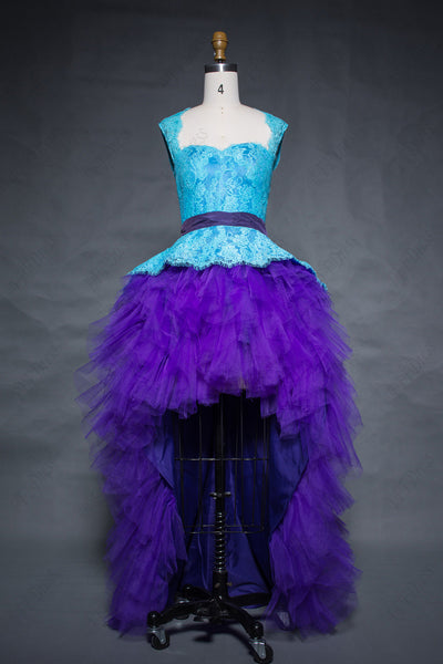 Aqua blue purple lace backless high low prom dresses open back