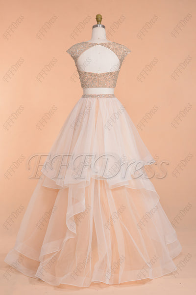 Beaded Sparkle Two Piece Tiered Backless Prom Dresses Long White Champagne