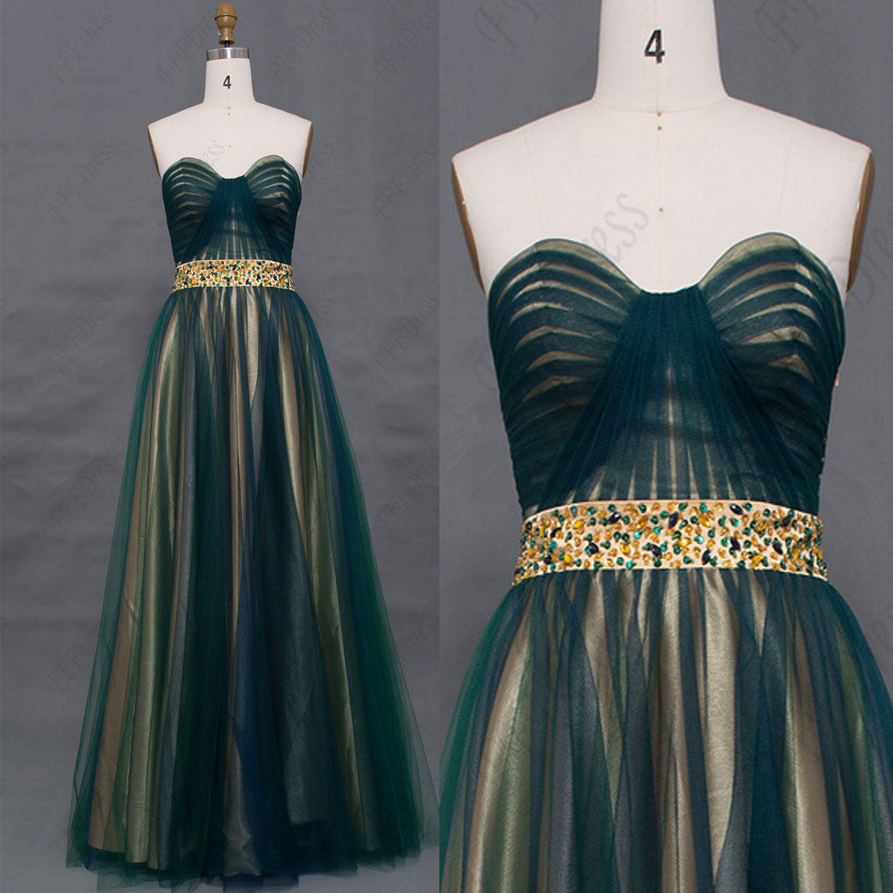 Vintage beaded dark green mohter of the bride dresses