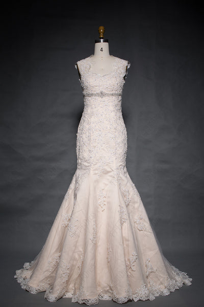 Lace trumpet wedding dresses open back