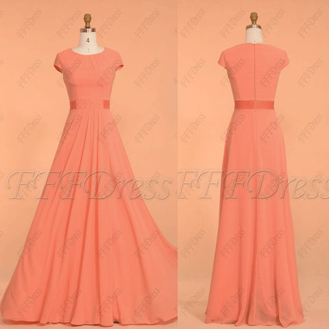 Coral Beaded Ruched Modest Bridesmaid Dresses Long