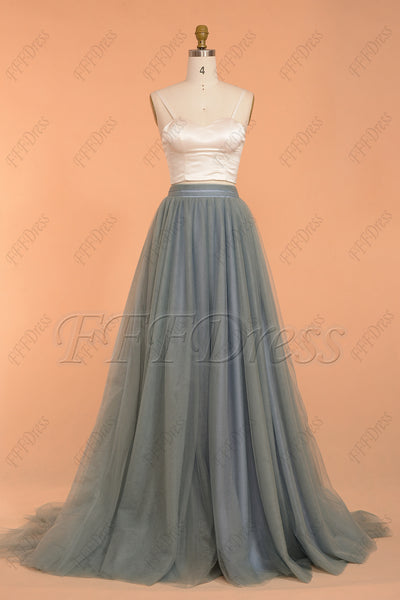 Modest slate blue tulle bridesmaid dress with bolero