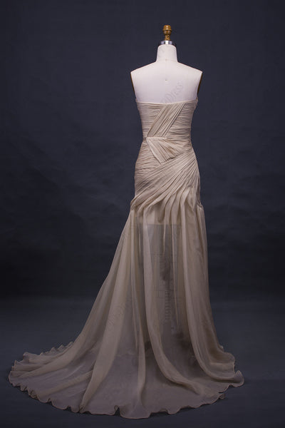 Champagne flowy chiffon long prom dress with slit