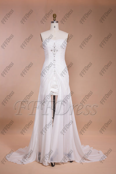 Short wedding dress with long train chiffon beach wedding dresses destination wedding dresses