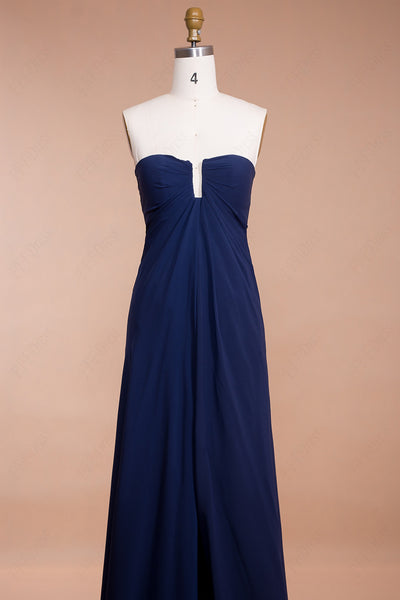 Navy blue elegant prom dress with slit evening dress