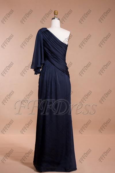 Navy blue one shoulder formal dresses long prom dresses