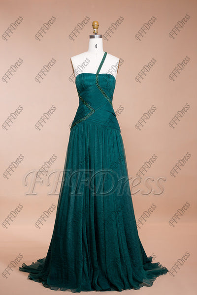 Forest green trumpet long prom dresses bridesmaid dresses