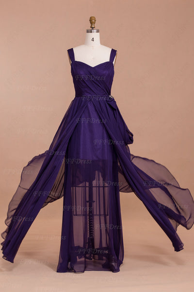 Purple Long Bridesmaid Dresses with See Through Skirt
