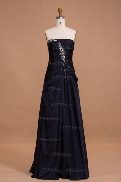 Midnight blue long bridesmaid dresses maid of honor dresses