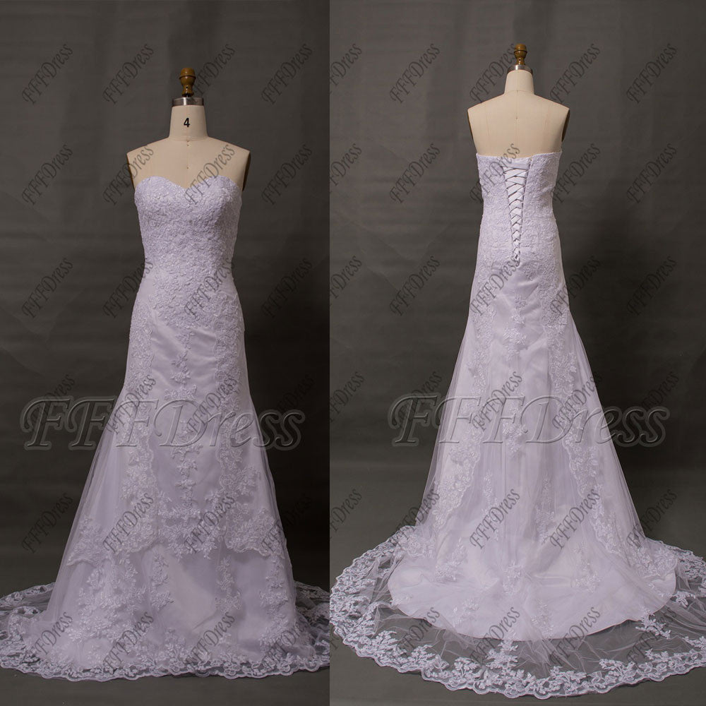White lace wedding dresses with train
