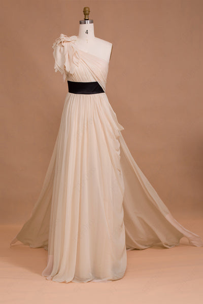 One shoulder Champagne Long Prom Dresses