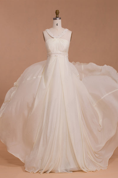 Pearls Beaded Ivory Chiffon Beach Wedding Dresses