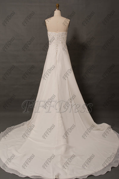 Beaded Chiffon Wedding dress with bolero plus size