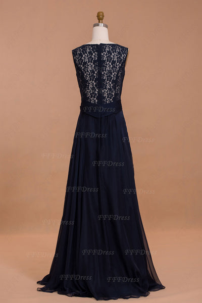 Dark navy backless prom dresses long