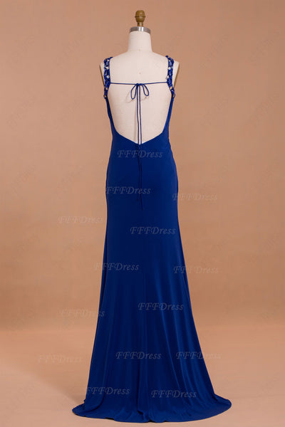 Royal Blue Mermaid Backless Prom Dresses