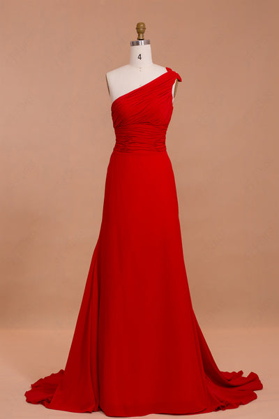 One Shoulder Red Formal Dress with Train