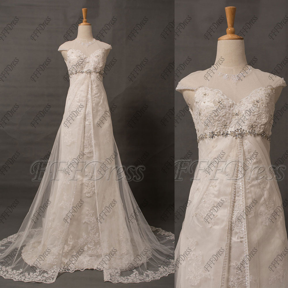 Mermaid lace wedding dress cap sleeves