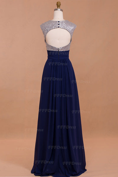 Silver Sequin Navy Blue Backless Prom Dresses
