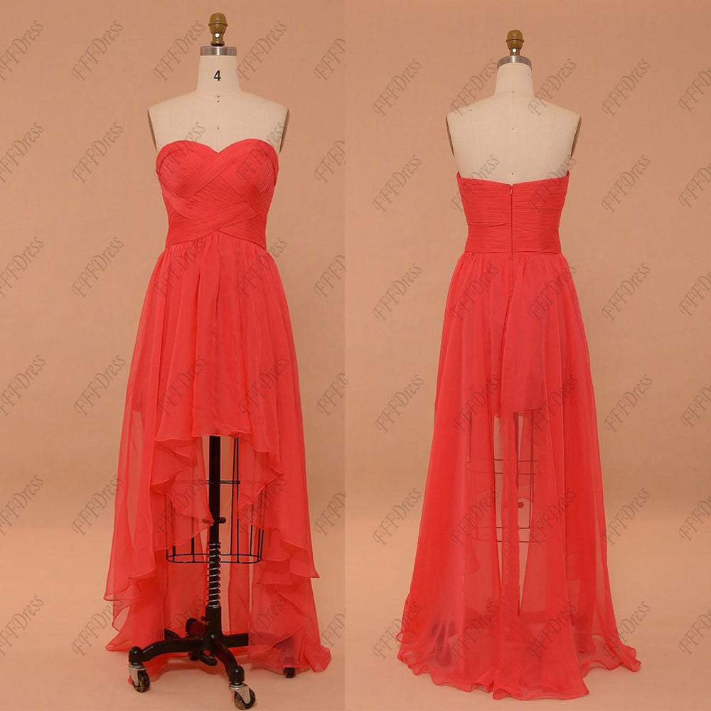 Sweetheart coral high low prom dresses