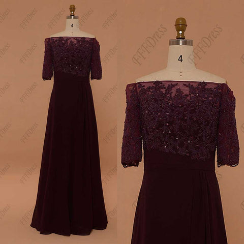Off the shoulder beaded Plum bridesmaid dresses with sleeves