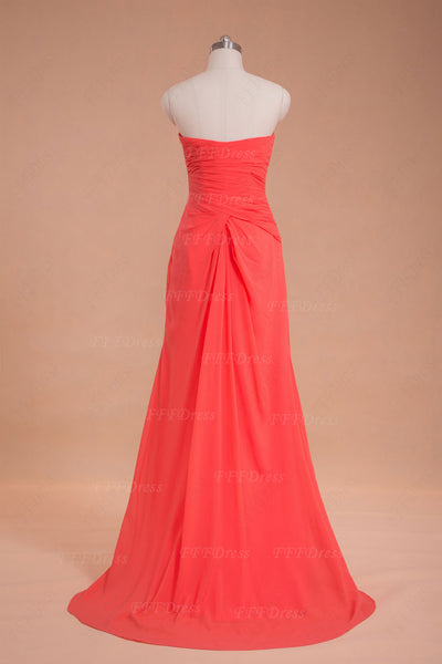Sweetheart Coral Prom Dress with Slit