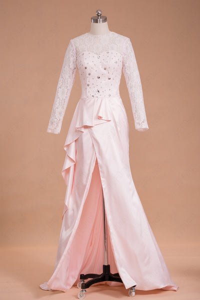 Modest pink prom dresses with long sleeves slit