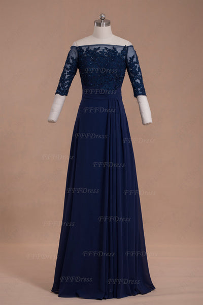 Off the shoulder lace navy blue mother of the bride dresses with sleeves