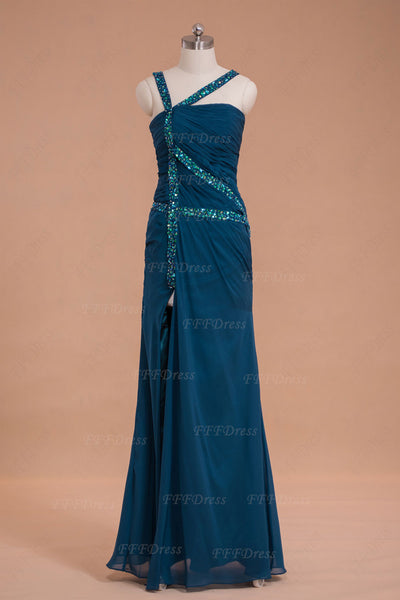 Trumpet teal color long prom dress with slit