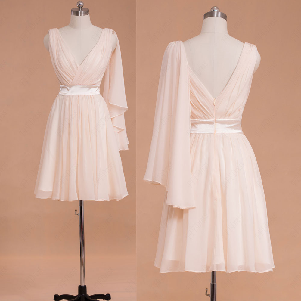 Pale pink short bridesmaid dress knee length