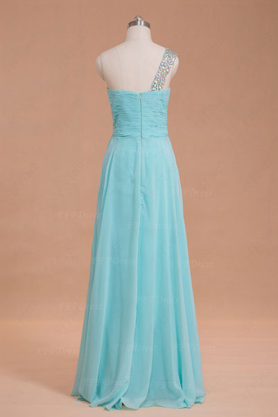 Light blue crystals long prom dresses