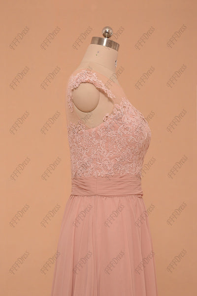 Dusty pink evening dresses plus size formal dresses cap sleeves