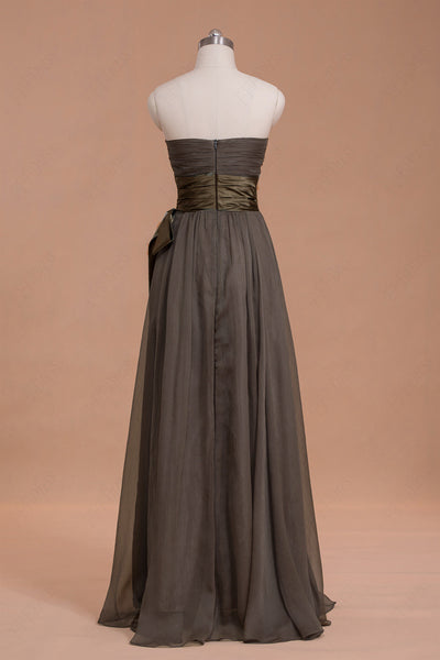 Strapless Brown Long Bridesmaid Dresses