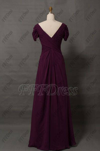 Modest plum mother of the bride dress with sleeves V neck