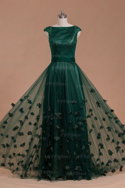 capped sleeves Modest dark green long prom dress with flowers